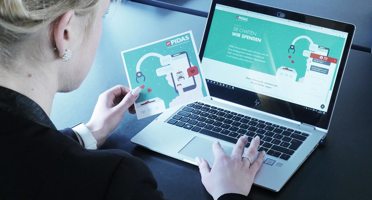 Dankeschön-Aktion 2018: PIDAS Kunden spenden per Chatbot